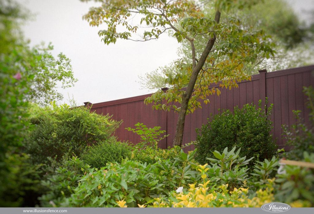 mahogany vinyl pvc wood grain privacy fence illusions