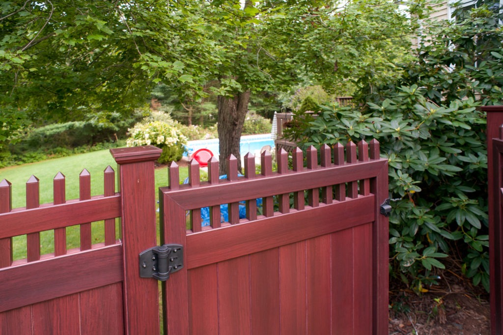 mahogany wood grain pvc vinyl privacy fence illusions gates 4