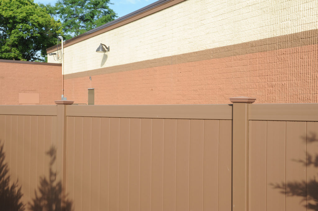 pvc vinyl brown privacy fence illusions
