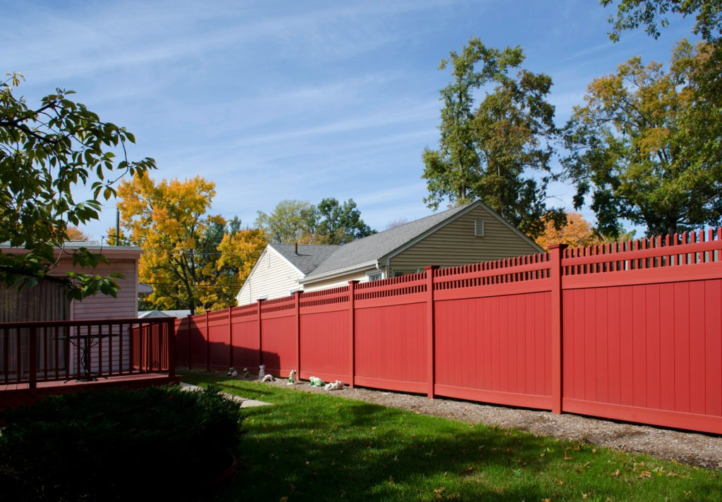 red pvc vinyl privacy fence panels from illusions