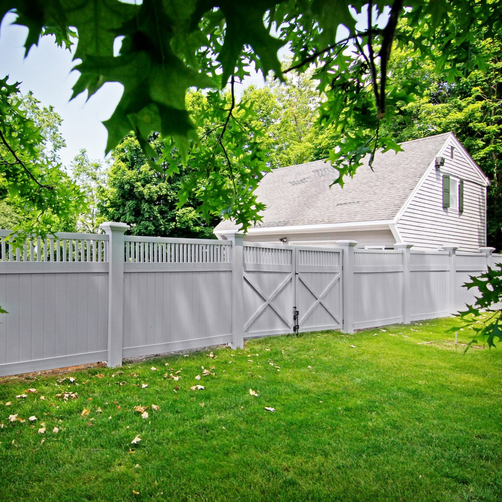 seacoast gray vinyl pvc illusions fence sections