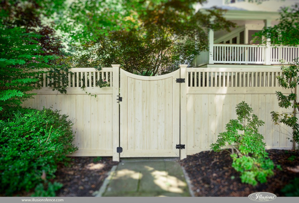 vinyl wood fence white cedar pvc panels 2