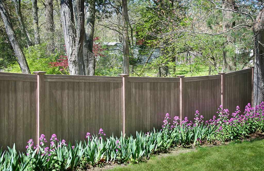 walnut pvc vinyl illusions wood grain privacy fence