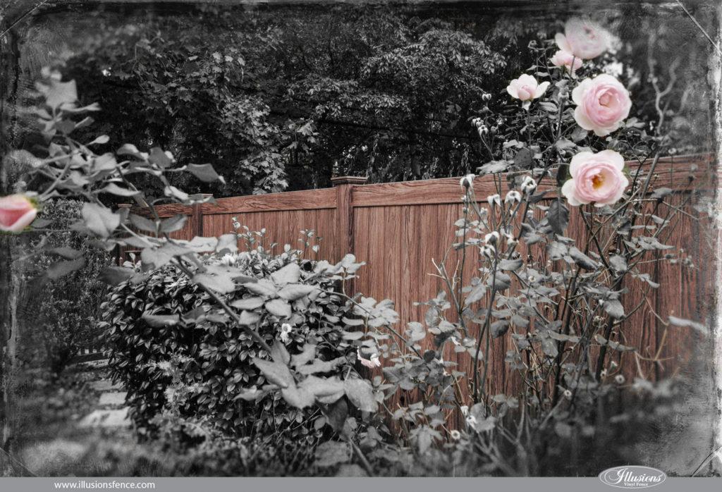 walnut vintage illusions vinyl wood grain fence