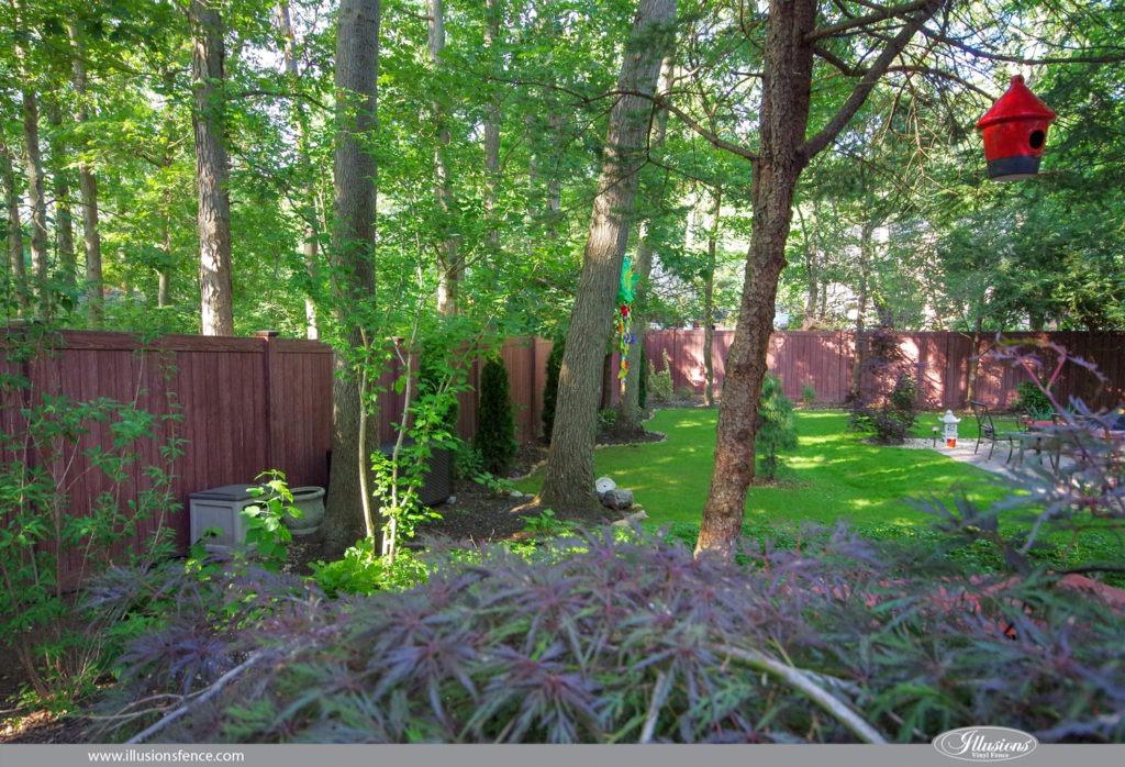 walnut vinyl pvc fencing panels backyard ideas