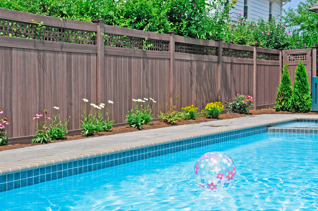walnut wood grain pvc vinyl fence
