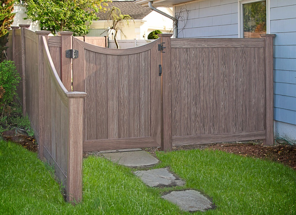 walnut wood grain pvc vinyl privacy fence