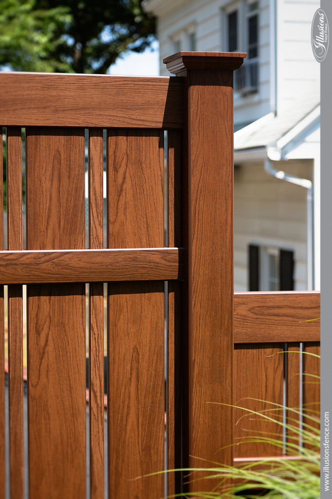 wood grain pvc vinyl fence rosewood illusions