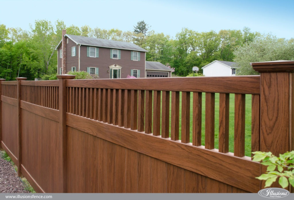 wood grain vinyl pvc privacy fence rosewood 1