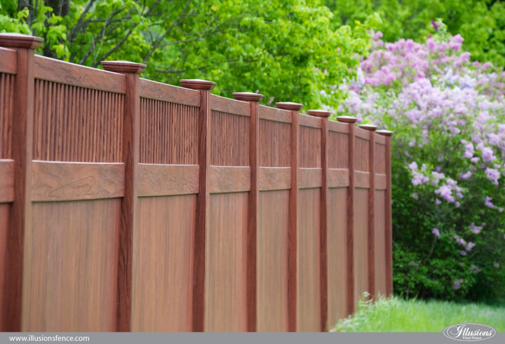 wood grain vinyl pvc privacy fence rosewood 3