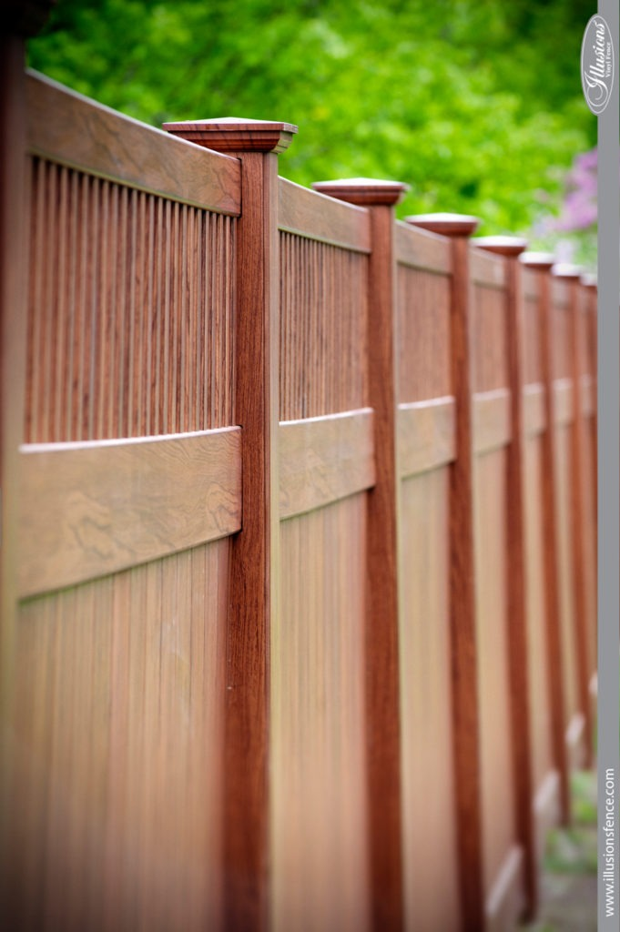 wood grain vinyl pvc privacy fence rosewood 4