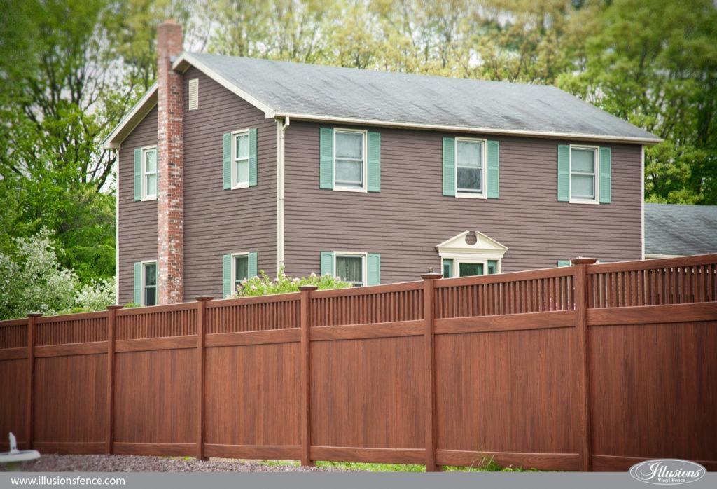 wood grain vinyl pvc privacy fence rosewood 5