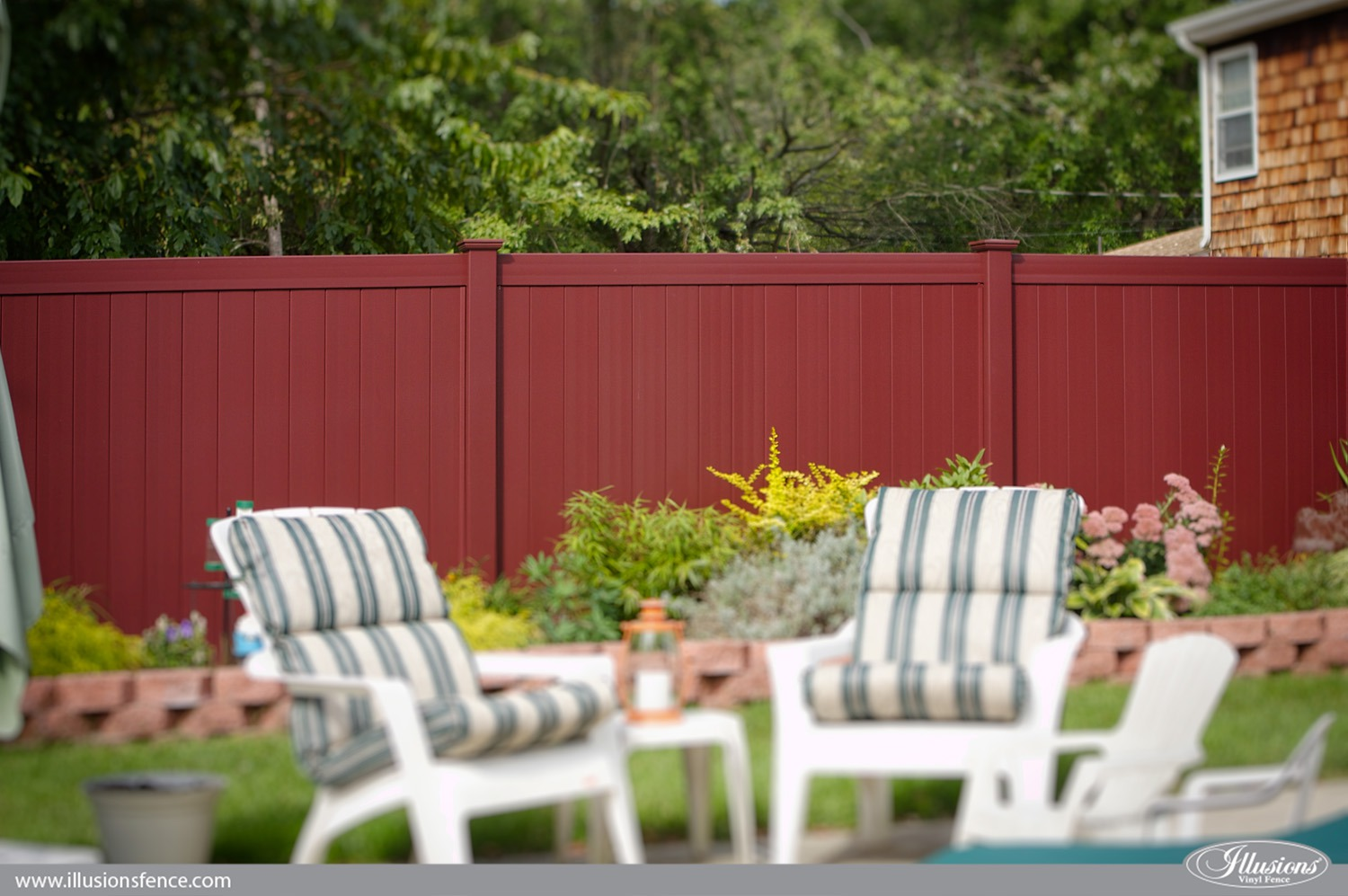 About us page 2 of 5 illusions vinyl fence burgundy pvc vinyl privacy fence from illusions vinyl fence baanklon Image collections