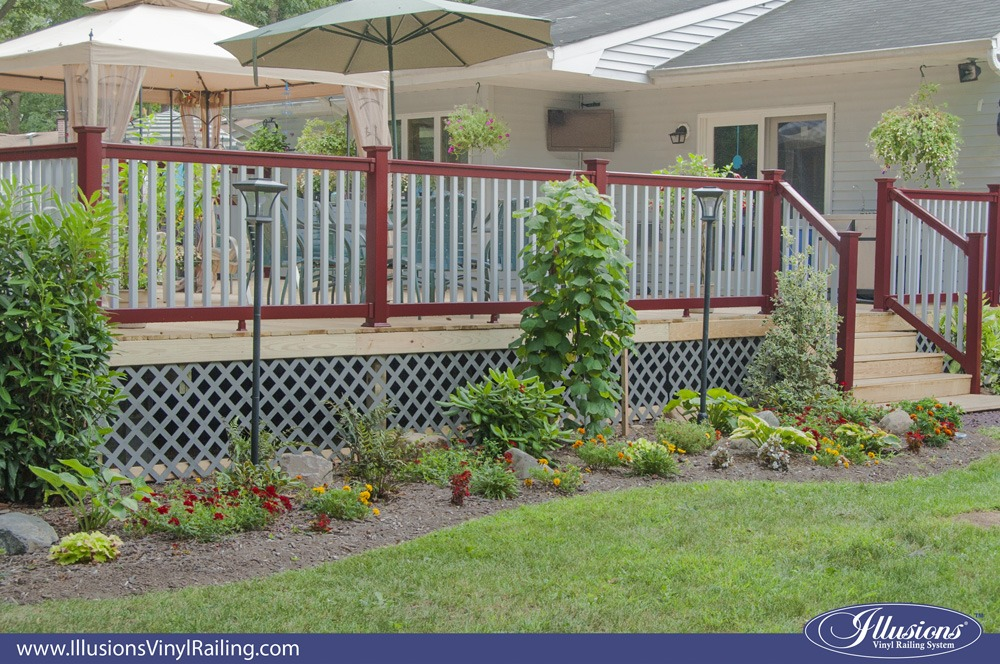 red and gray color PVC vinyl railing from Illusions