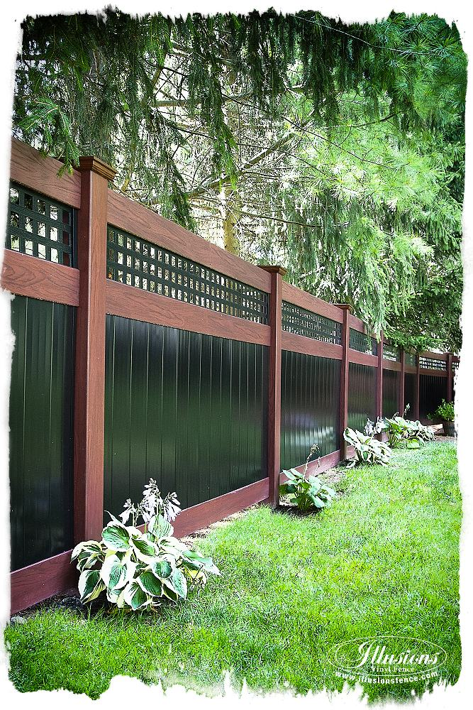 Gorgeous Fence Idea of Rosewood and Black Illusions PVC Vinyl Privacy Fence with Square Lattice. #landscapingideas