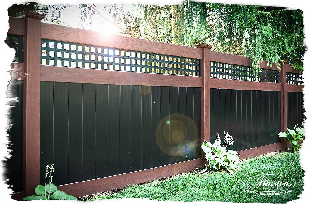 Rosewood and Black PVC Vinyl Privacy Fence Illusions Vinyl Fence