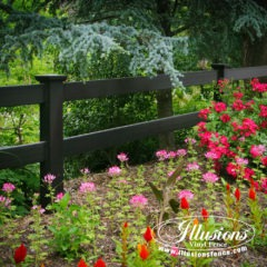 black pvc vinyl post & rail fence by illusions vinyl fence