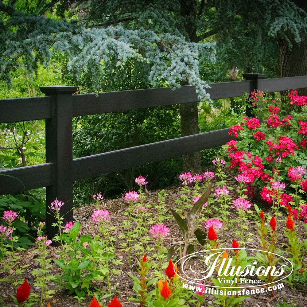 About us illusions vinyl fence black pvc vinyl post rail fence by illusions vinyl fence baanklon Image collections