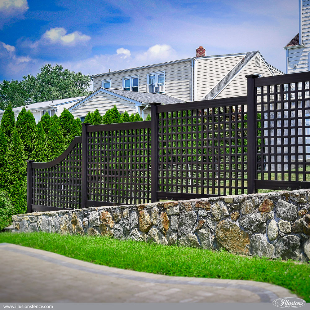 Looking For A Great Backyard Fence Idea How About Black PVC Vinyl Old English Lattice