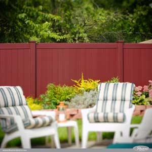 Burgundy PVC Vinyl Privacy Fence Sections from Illusions Vinyl Fence. Looks like a dark red matte finish painted wood fence, but it's PVC vinyl. Style V300-6E110 #fenceideas