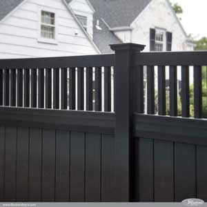 Great fence idea. Awesome black PVC vinyl privacy fence panels from Illusions Vinyl Fence. Style V3701-6L105. #fenceideas