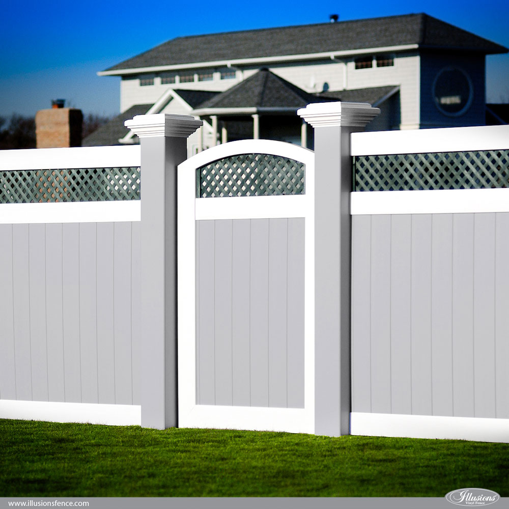 Awesome illusions pvc vinyl fence ideas and images illusions incredible gray white pvc vinyl fence panels with green lattice an arched accent baanklon Gallery