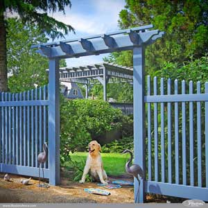 Stunning Federal Blue PVC Vinyl Pergola and Picket Fence by Illusions VInyl Fence. Illusions color PVC vinyl fence is changing the face of American landscaping.