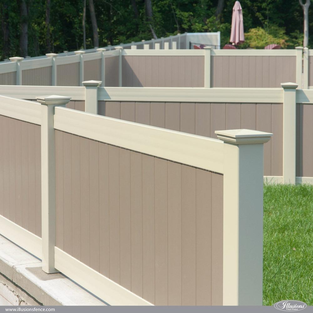 Two-Color Illusions PVC Vinyl Fence Idea Featuring Adobe and Antique White Privacy Panels. #fenceideas #fence #landscapingideas #backyardideas #dreamyard
