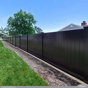 Black PVC Vinyl Low Maintenance Privacy Fence Panels from Illusions Vinyl Fence is a perfect good neighbor fence idea for your home or business. #fenceideas #black #pvc #vinyl #fence #backyardideas #homedecor