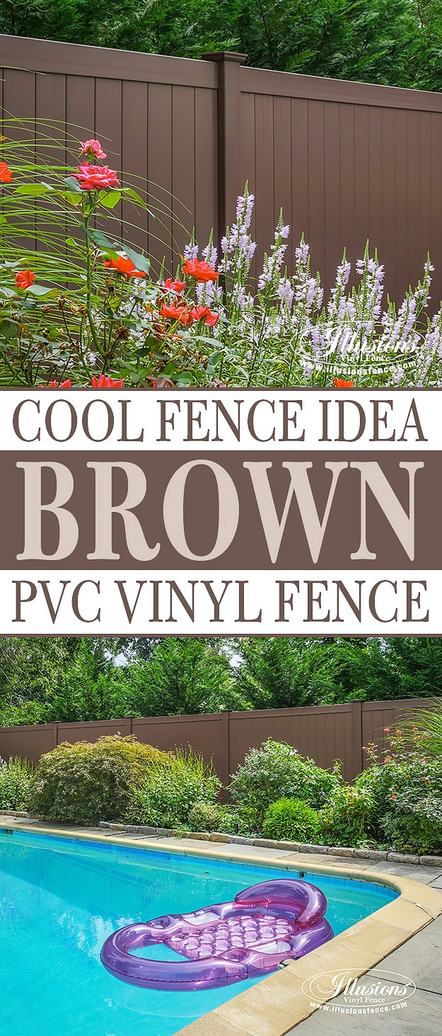 Beautiful Brown Illusions Vinyl Fence is the best brown PVC vinyl fence available. #brown #fence #fencideas