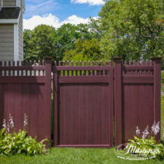 Mahogany PVC Vinyl Fence Products by Illusions Vinyl Fence. #fenceideas #dreamyard #dreamhome #backyardideas #landscaping #fence