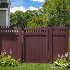 Mahogany PVC Vinyl Fence Products by Illusions Vinyl Fence. #fenceideas #dreamyard #dreamhome #backyardideas #landscaping #fence
