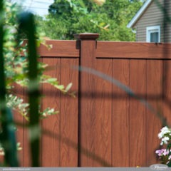 Rosewood Wood Grain Illusions PVC Vinyl Privacy Fence Looks Just Like Real Wood Withouth the Maintenance. #fenceideas #fence #privacy #backyardideas #homeideas