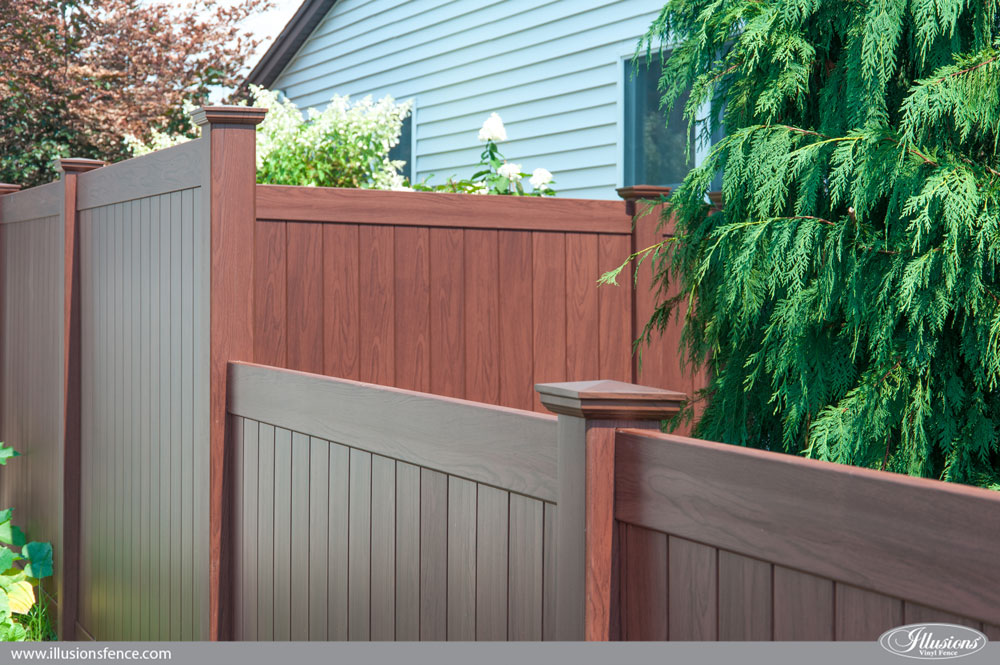 Rosewood Wood Grain Illusions Pvc Vinyl Privacy Fence