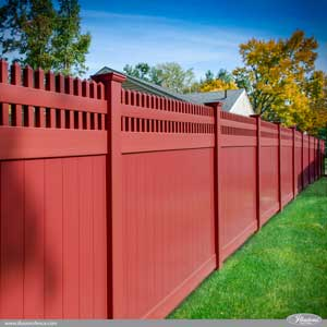 Barn Red PVC Vinyl Privacy Fence with Classic Victorian Picket Topper from Illusions Vinyl Fence. #fenceideas #fence #backyardideas