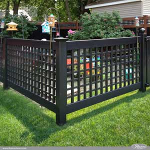 Black PVC Vinyl Old English Lattice Fence with New England Caps from Illusions Vinyl Fence is the perfect garden fence. #garden #fence #fenceideas backyardideas