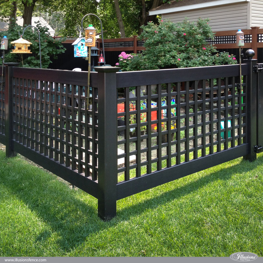 Black PVC Vinyl Old English Lattice Fence With New England Caps From  Illusions Vinyl Fence Is