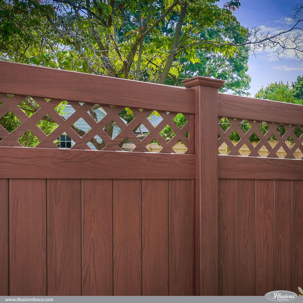 12 amazing low maintenance fence ideas illusions vinyl fence stunning rosewood pvc vinyl privacy fence with diagonal lattice topper from illusions vinyl fence is the baanklon Choice Image