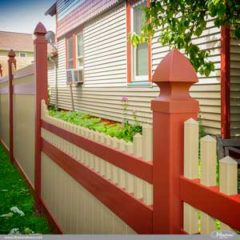 Amazing Tan and Barn Red PVC Vinyl Privacy Fence by Illusions Vinyl Fence. Match Your Fence To Your House. #fenceideas #homeideas #backyardideas #landscapingideas #fence