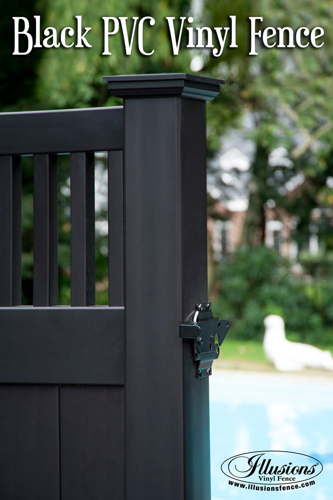 Incredible Black Craftsman Style PVC Vinyl Privacy Pool Fence Idea From Illusions Vinyl Fence Is A Perfect Backyard Idea For Your Home Decor. #poolfence #fenceideas #black #fence