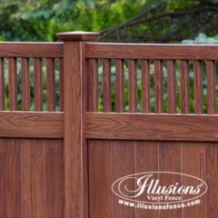 Craftsman Style V3701-6W104 Rosewood Wood Grain PVC Vinyl Tongue and Groove Fencing Panels With Framed Classic Victorian Topper by Illusions Vinyl Fence. #fenceideas