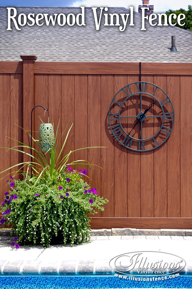 Fence Ideas That Add Curb Appeal. Gorgeous Pool Fence Idea of Rosewood PVC Vinyl Fence from Illusions Vinyl Fence. Some Nice Fence and Pool Decor Ideas Too. #fenceideas #fencedecor