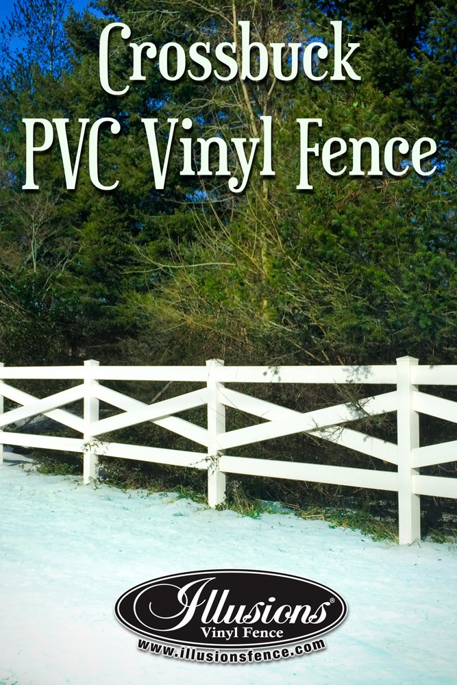 Fence Ideas That Add Curb Appeal. Incredible PVC Vinyl Crossbuck Post and Rail Criss-Cross Fence Style from Illusions Vinyl Fence Adds Curb Appeal To Your Horse Fence and Animal Fence. #fenceideas #ranch #horse #fence #postandrail