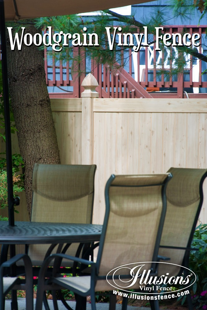 Fence Ideas That Add Curb Appeal. The Best New Fence Idea! PVC Vinyl Fence That Looks Like Real Wood. Illusions Vinyl Fence Eastern White Cedar Grain Privacy Pool Fence. #fenceideas #fence #backyardideas