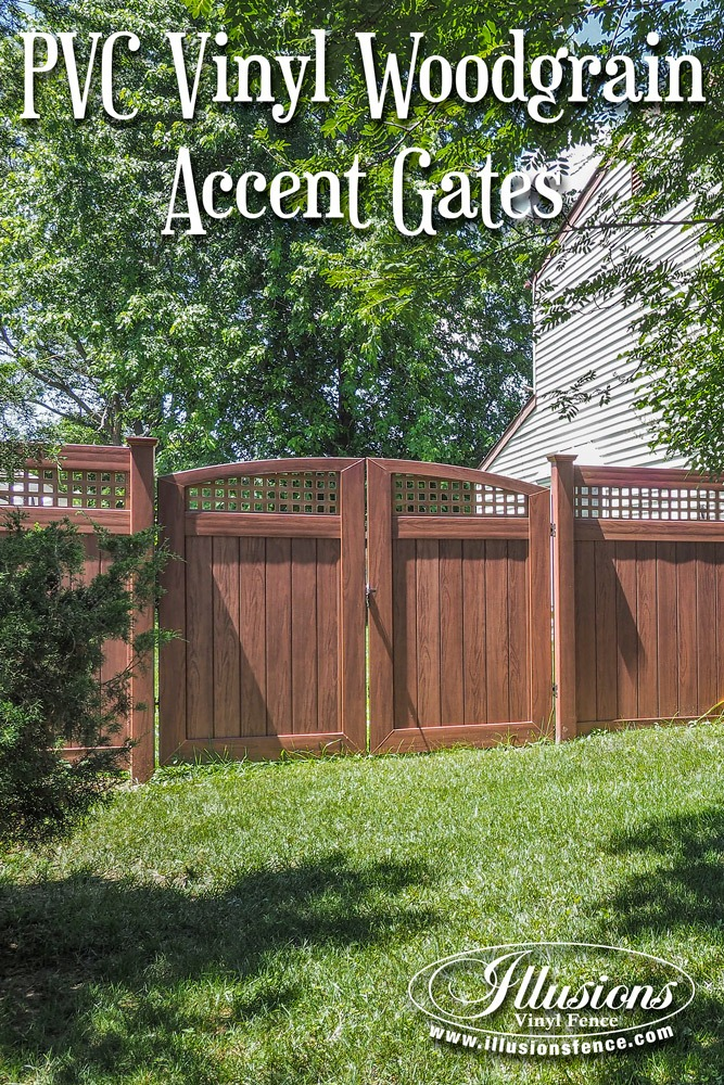 Fence Ideas That Add Curb Appeal. Beautiful PVC Vinyl Rosewood Double Drive Gates from Illusions Vinyl Fence are a perfect fence decor accent to add curb appeal to your landscaping. #fence #gates #homedecor #fencedecor #fenceideas #backyardideas