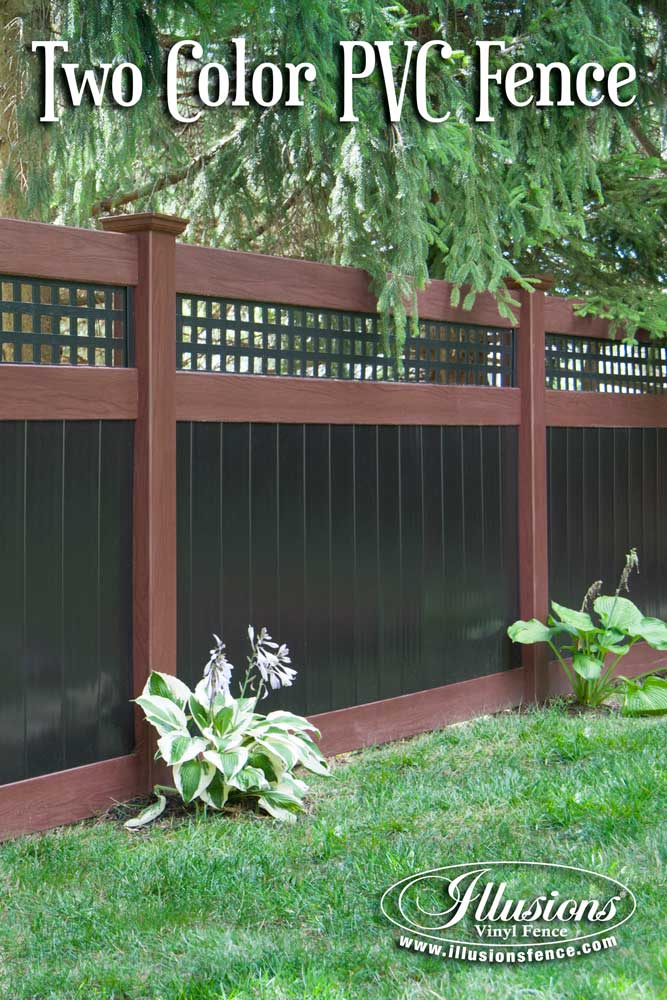 Incredible Rosewood and Black PVC Vinyl Privacy Fence with Square Lattice Topper from Illusions Vinyl Fence. The perfect fencing panel accent to any outdoor living space. #fenceideas #backyardideas #fence #landscapingideas