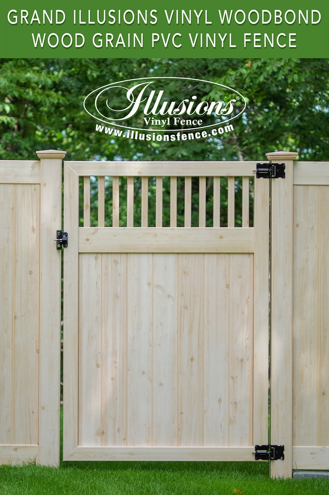 PVC Vinyl wood grain fence that looks like real wood! Eastern White Cedar grain privacy fence from Illusions Vinyl Fence. #fenceideas #backyardideas #fence #woodgrain #vinyl #pvc