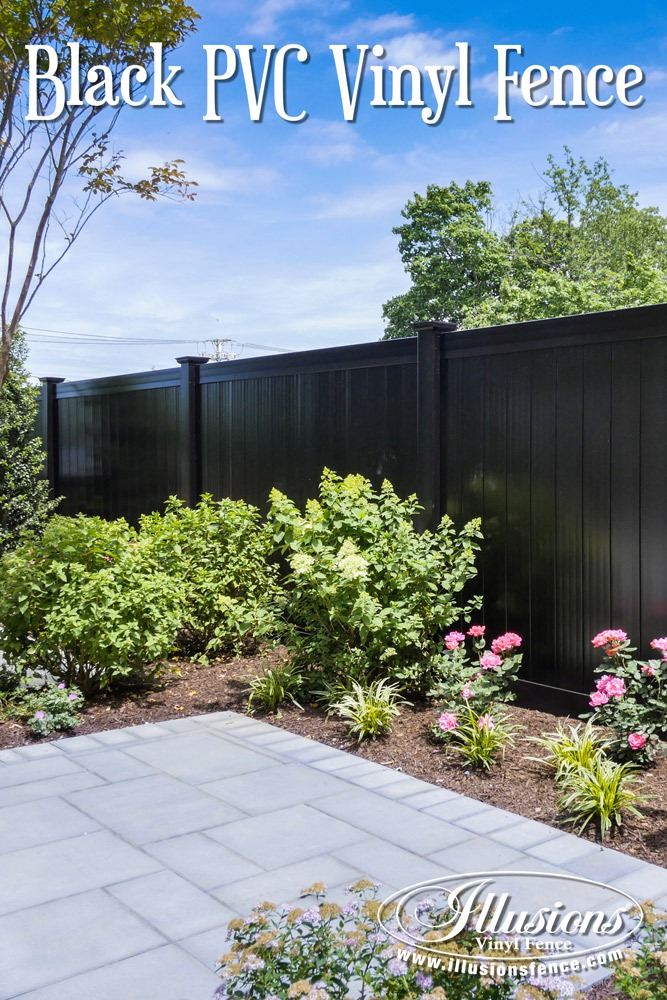 Fence Ideas That Add Curb Appeal. This Black PVC Vinyl Privacy Fence Idea from Illusions Vinyl Fence Is Just Plain Awesome. #fenceideas