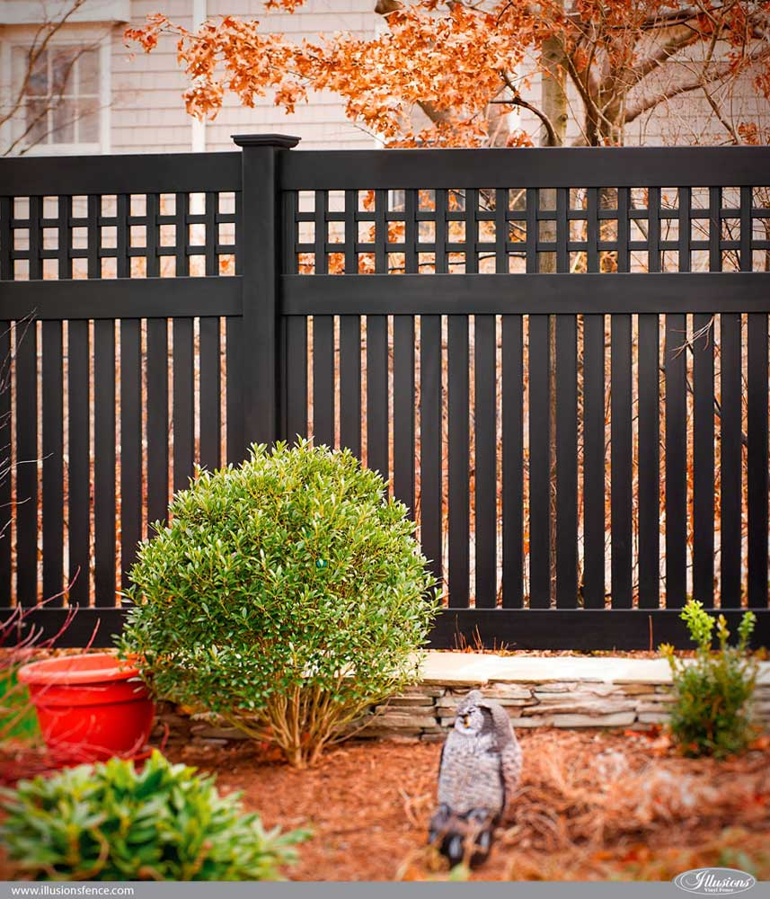 Gorgeous V52153OE-6L105 in Grand Illusions Color Spectrum Black (L105). Black PVC Vinyl Semi-Privacy Fence with Old English Lattice and Three Inch Boards by Illusions Vinyl Fence. #fenceideas #homeideas #backyardideas #fence