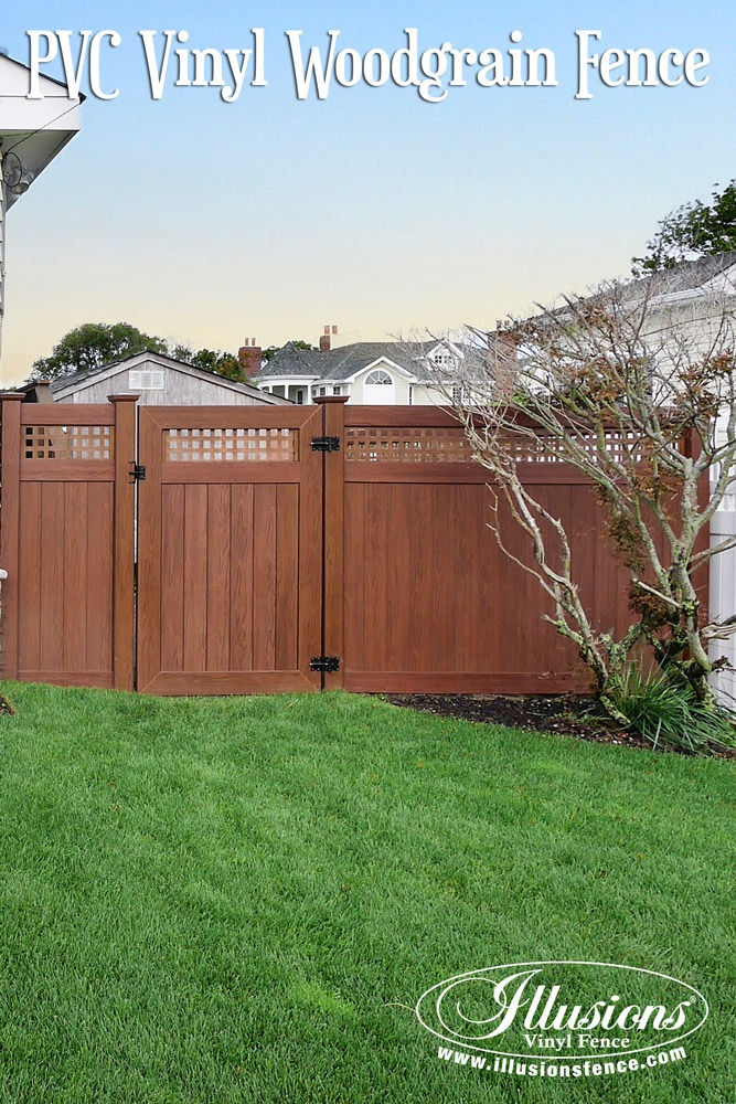 Fence Ideas That Add Curb Appeal. Rosewood PVC Vinyl Fence and Matching Walk Gate From Illusions Vinyl Fence Adds Incredible Curb Appeal To These Fencing Panels. #fencideas #curbappeal #privacy #fence